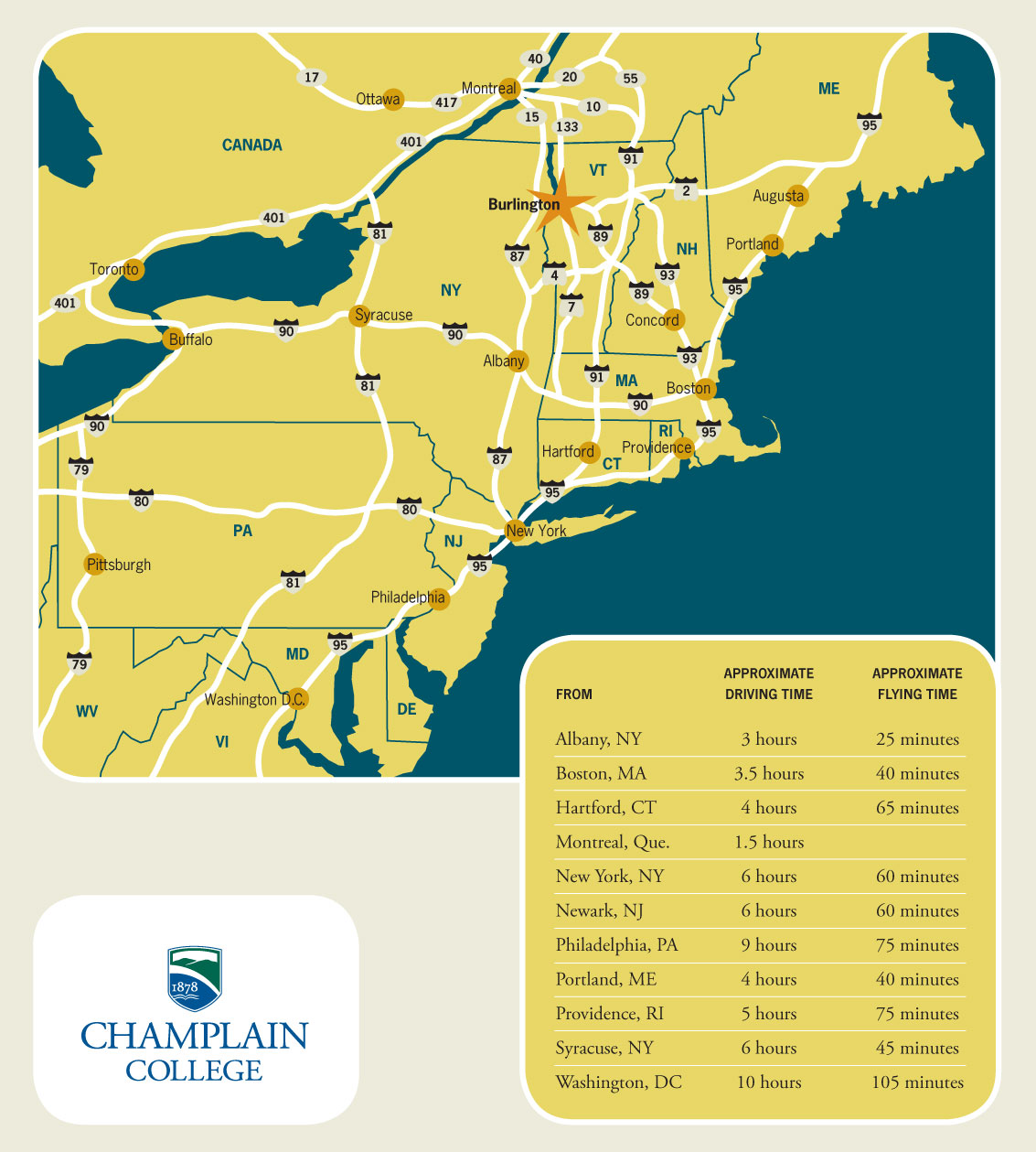 Maps Directions Champlain College - Vermont in usa map