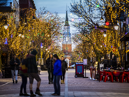 People walking along Church Street in downtown Burlington