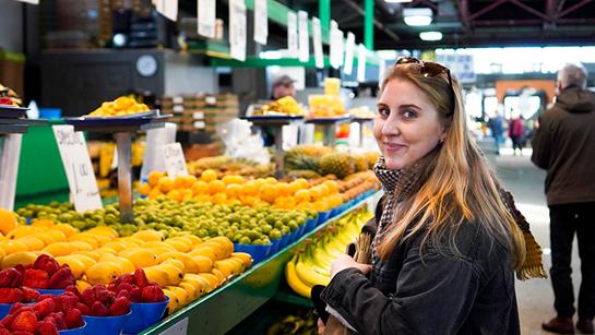 A student explores the Jean Talon Market in Montreal.