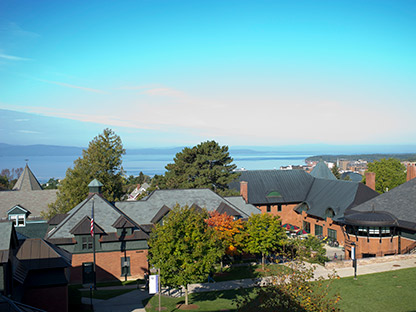 Champlain College campus with Lake Champlain in the background.