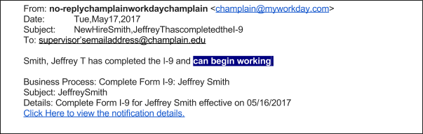 Image of an example email signifying that a student may begin working