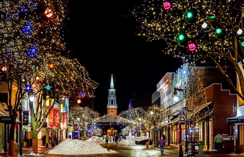 Burlington, VT lit up for the Holidays
