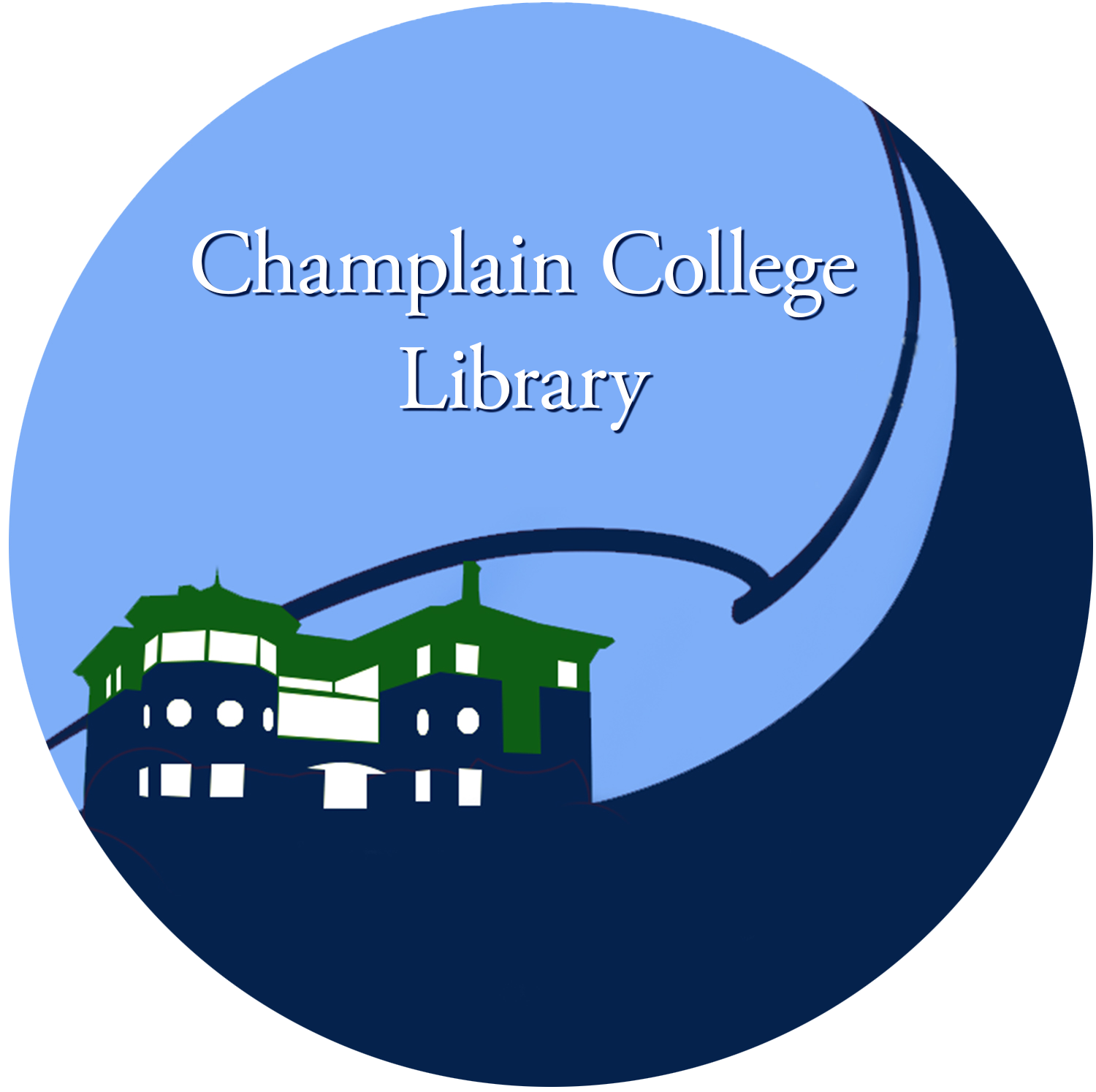 Champlain College Library logo, depicts stylized version of the building