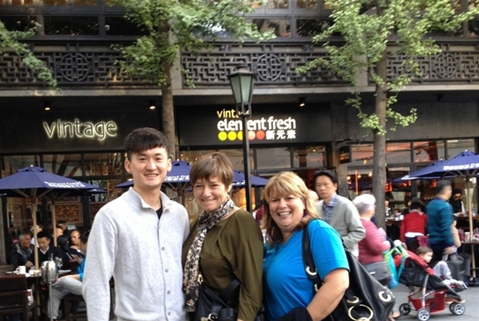 """New MS in Emergent Media student ZiChecn """"Jin"""" Liu with Associate Dean Ann DeMarle and Academic Provost Robin Abramson in Shanghai"""