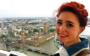 Champlain College student studying abroad in London