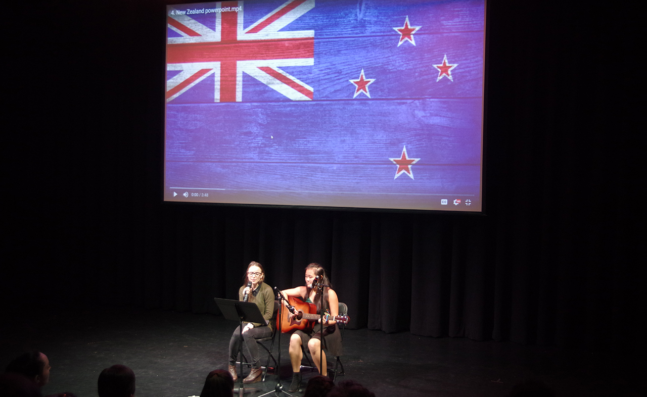 Two New Zealand Exchange Students performing in Nations United