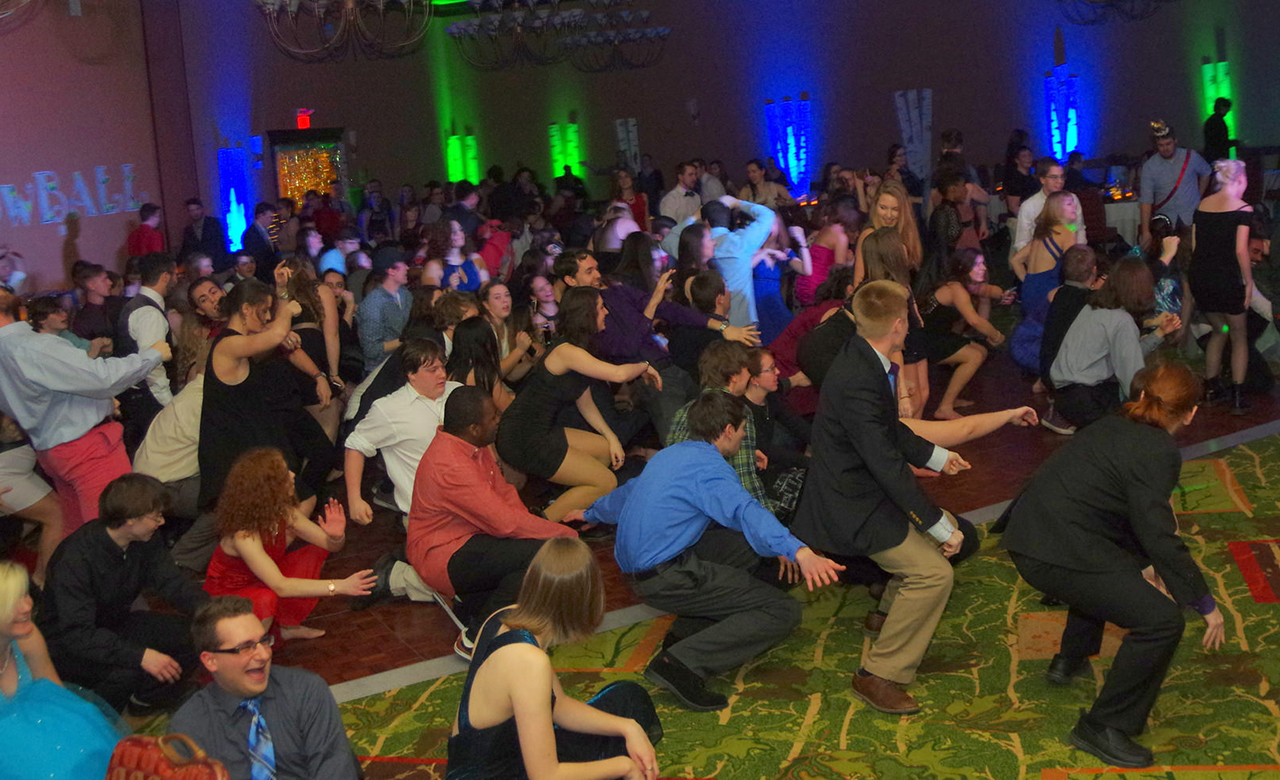 Champlain College students dancing during winter formal