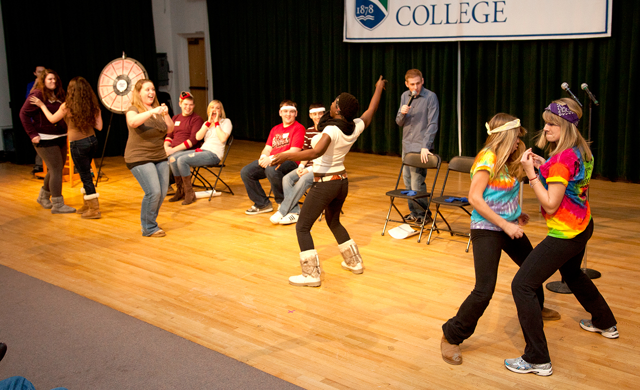 Students participating in an on campus game show