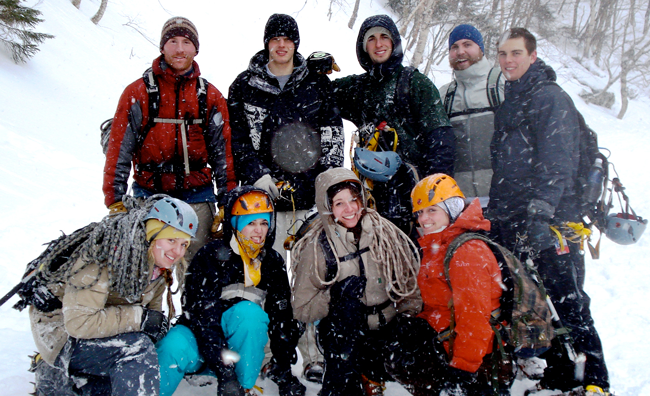 a group of Champlain College students on a wilderness trip