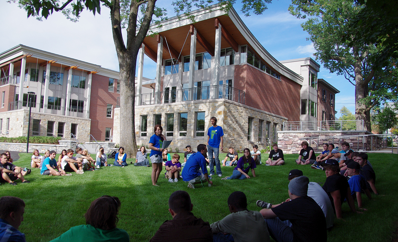 A group of students at Champlain College orientation