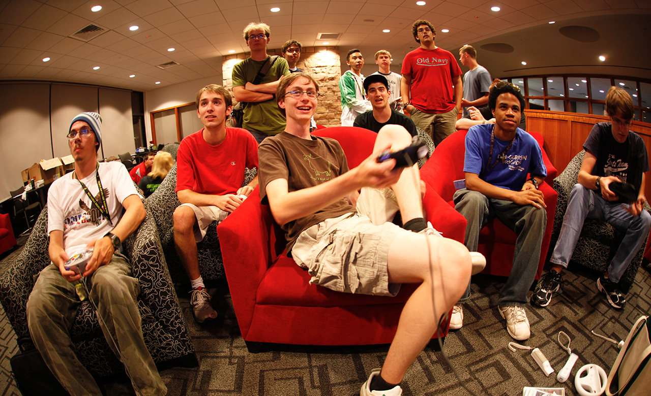 Champlain College students playing video games in the student life center
