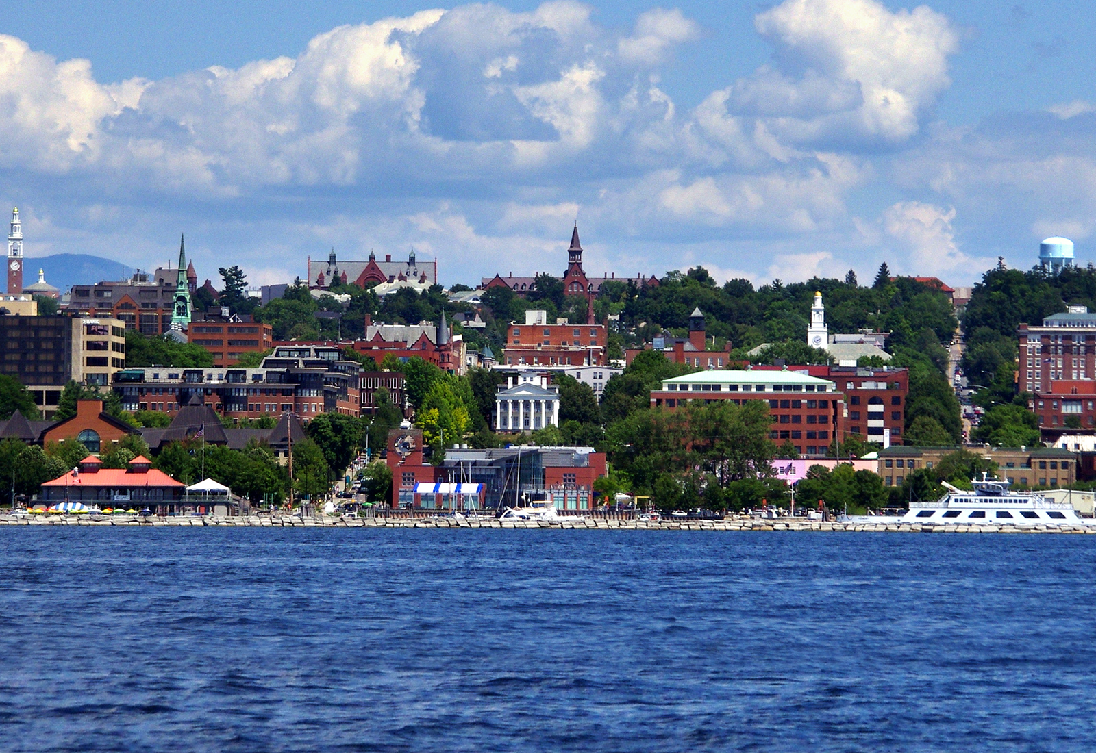Champlain College is located in this ideal College Town with some of the best outdoor adventure terrain in the country. A view of downtown Burlington, shot from Lake Champlain.