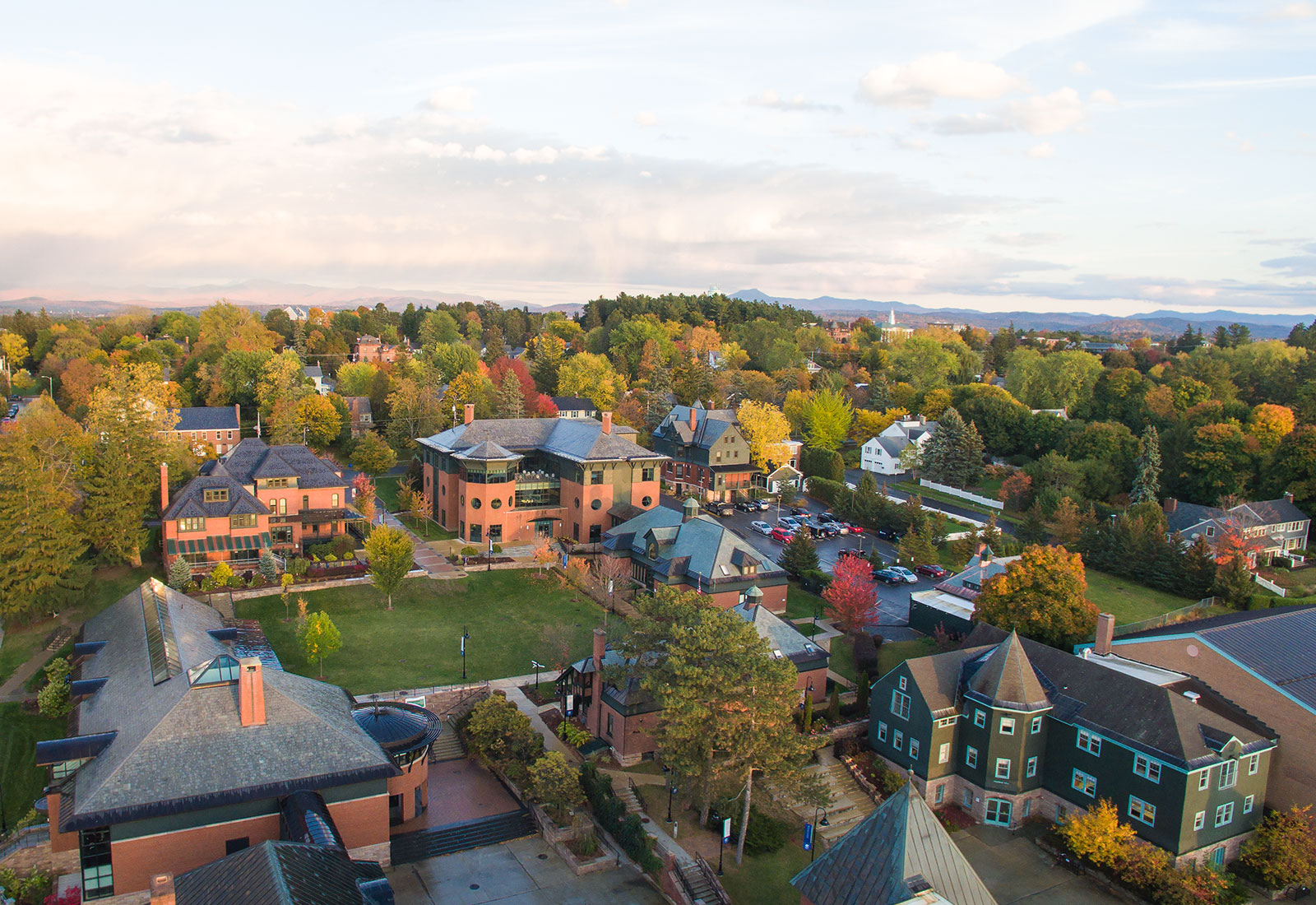 Drone shot of Champlain College in Burlington, Vermont, during autumn