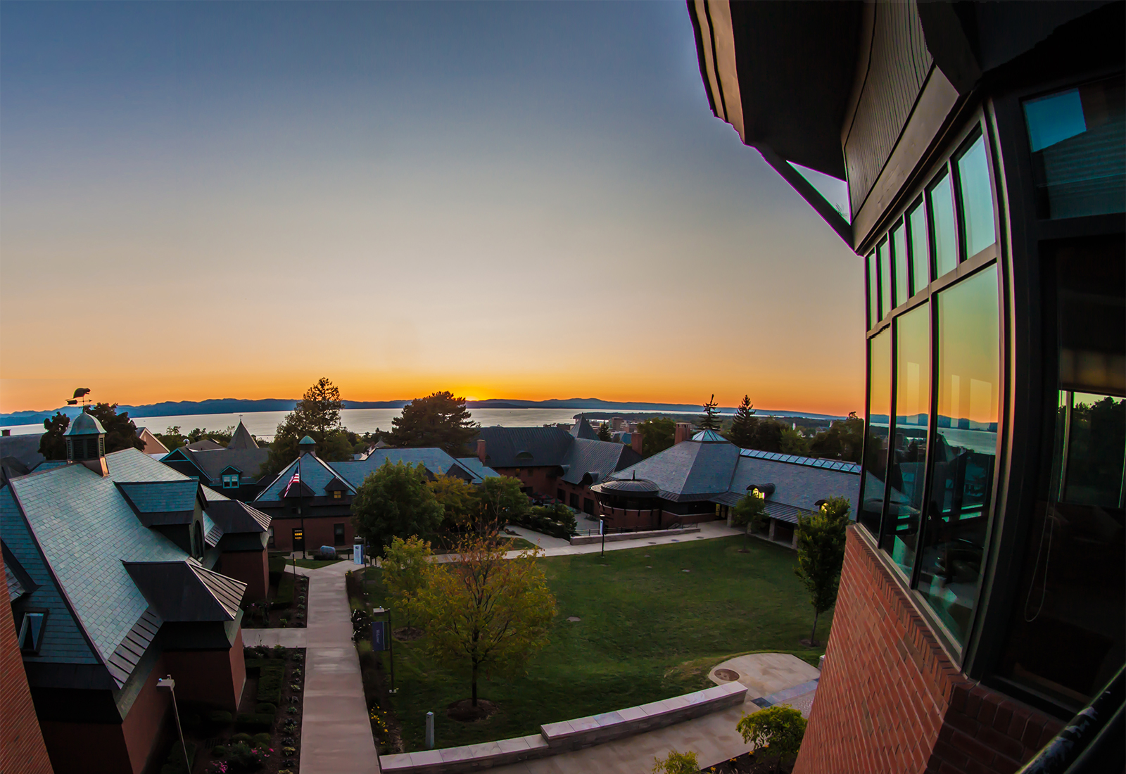 View of Lake Champlain from the Miller Information Commons at Champlain College in Burlington, Vermont