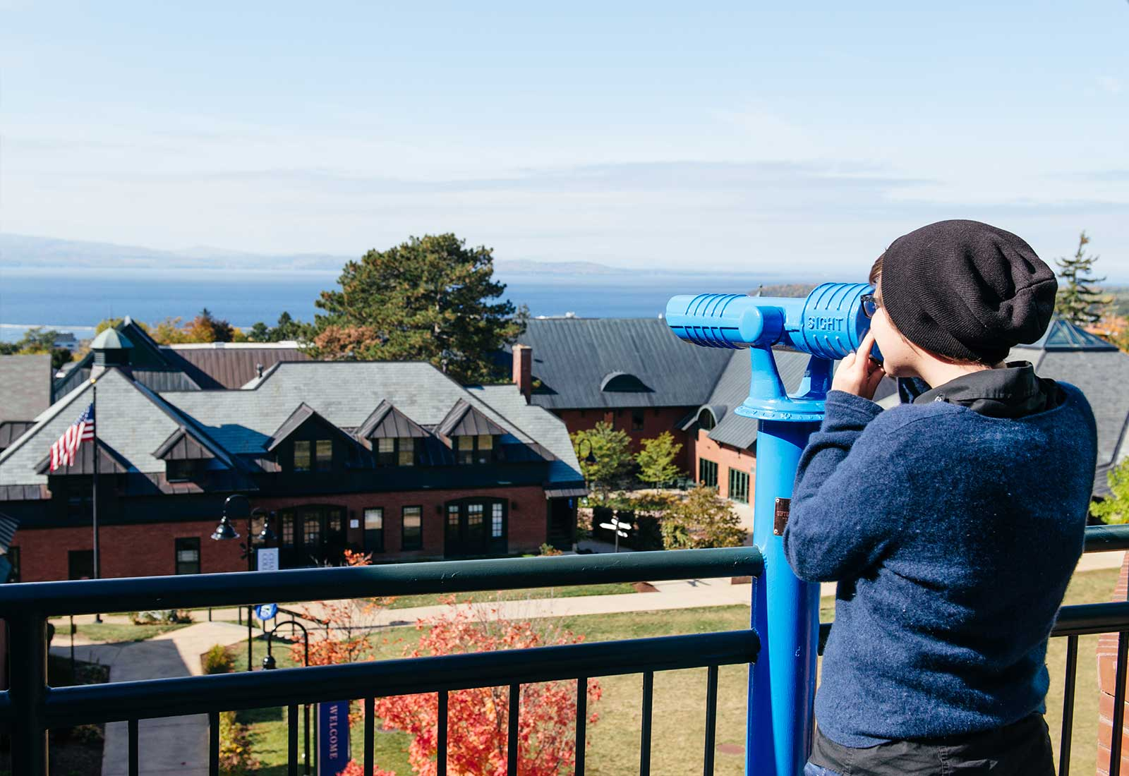 View of Lake Champlain from Champlain College in Burlington, Vermont