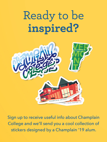Collection of Champlain College stickers, including stickers of buildings, Champlain College logo, and Vermont state map