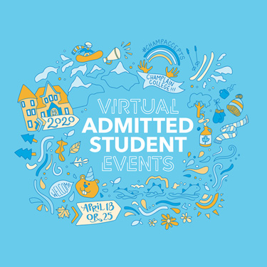"Admitted Student Day Doodle Illustration that says, ""Virtual Admitted Student Events"""