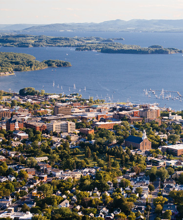 A view of the shoreline of Burlington, Vermont