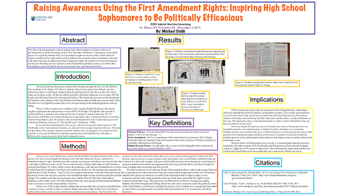 Raising Awareness Using First Amendment Rights: Inspiring High School Sophomores to be Politically Efficacious