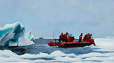 a 2'x3' acrylic on wood panel painting of marine scientists gathering ice for study with Coast Guard assistance.