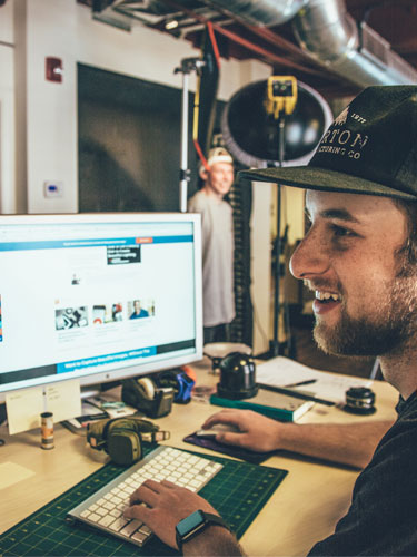 Visual Communications Design intern working on photography shoot at Burton Snowboards