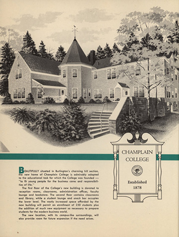 a Champlain College Brochure from 1958