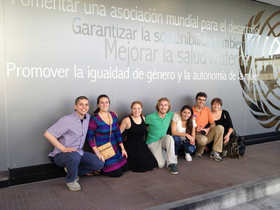 The Champlain College BREAKAWAY team San Salvador, El Salvador. L-R: Mahmoud Jabari '15, Nicole Baker '12, Kelly de Castro MFA '14, Kevin Flanagan '14, Mariana Herrera '15, EMC Project Manager Adam Walker, and Ann DeMarle, Associate Dean, Emergent Media.