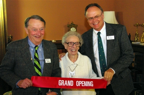 Lola Aiken at the Aiken Hall Grand Opening Reception in 2009 with former Champlain College Presidents Robert Skiff and David Finney.