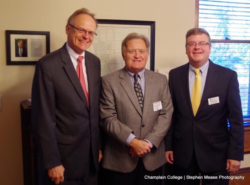 Champlain College President David Finney, Lance Llewellyn, and David Provost at the dedication of the Llewellyn Collection at Champlain College.