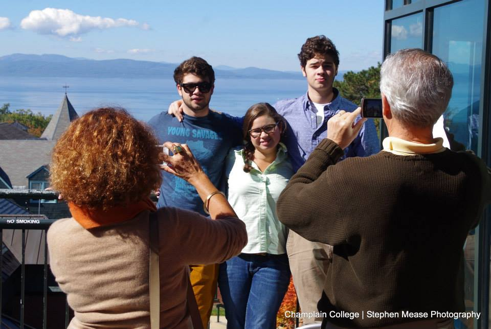Prospective students enjoy Champlain campus in the fall at open house.