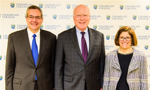 Champlain College President, Donald Laackman; Vermont Senator, Patrick Leahy; and OPM Acting Director, Beth Cobert