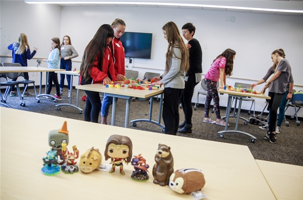 Middle School students learn about making games at Champlain College
