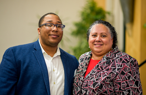 Angela Batista with poet Marcus Wicker at Champlain College's Martin Luther King Day Celebration, 2019