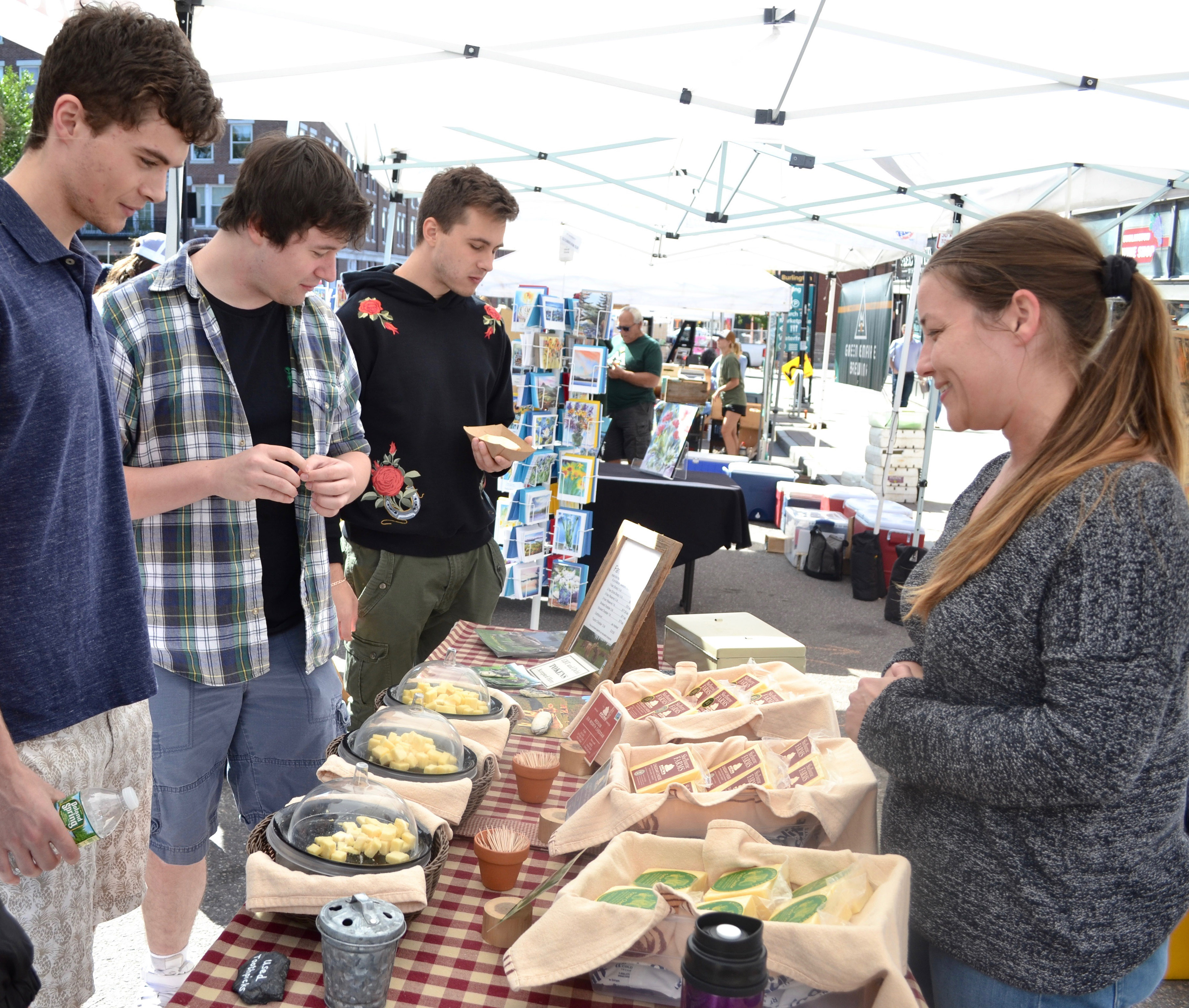 Students at the Burlington Famers Market