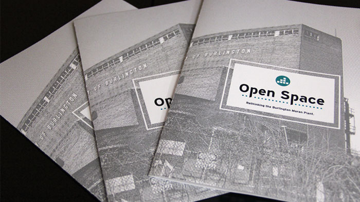 Brochure for Open Space, part of a graphic design entry for the AIGA Show by Champlain student Chris.