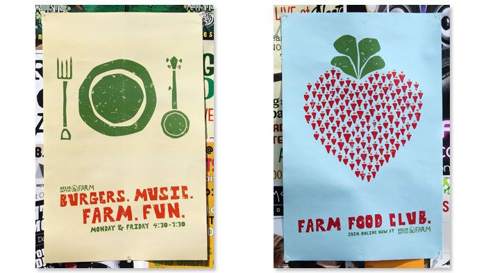 Bread & Butter Farm posters designed by Champlain Graphic Design Student Chris