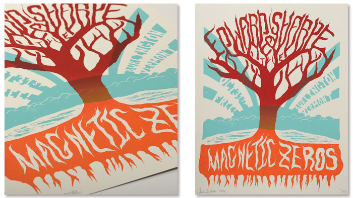 Edward Sharpe & The Magnetic Zeros Gig Poster designed by Champlain Graphic Design Student Chris