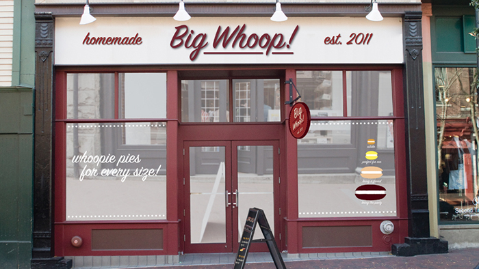 Big Whoop!, marketing campaign and storefront design by Champlain Grad, Kaitlyn