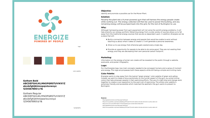Information page for Energize Gym, a graphic design exhibit by Champlain College student Rosie
