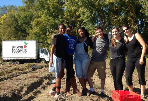 students working with the Intervale Food Hub