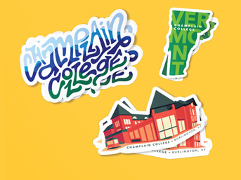 Image of a a collection of Champlain stickers