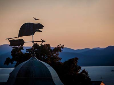 Beaver weathervane overlooking Lake Champlain